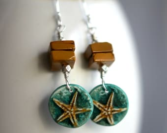 Green Starfish Earrings, Mustard Yellow Sea Star Dangles, Mookaite, Nautical, Ocean, Sea, Sterling Silver,