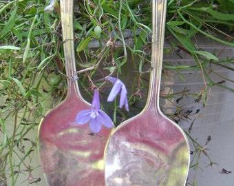 SPOON TIEBACKS of REcycled antiQue Silverware-1 pr. flattened matching Gorham Silver Plate Serving Spoons--curtain / drapery  tiebacks