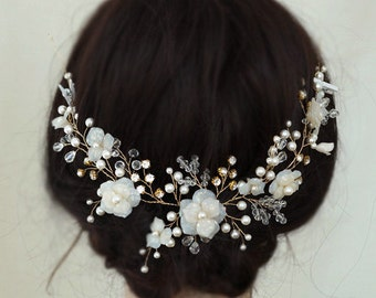 Wedding Hair Accessory,Gold Bridal Headpiece, Flower Wedding Hair Combs, Ivory Hair Vine Rhinestone Wedding Hair Pieces for Brides