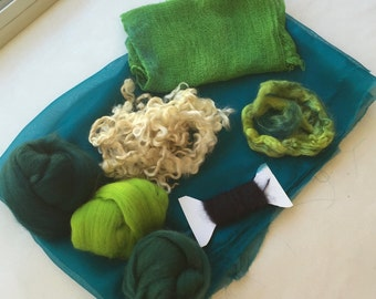 Nuno Felting Supply Pack - Teal Blue and Lime