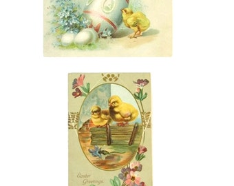 Antique Easter postcards - Set of two - Early 1900s - Chicks and eggs - Edwardian - Printed in Germany