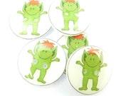 "5 Cute Green Monster Buttons.  5 Handmade Buttons.  3/4"" or 20 mm  Sewing Buttons."