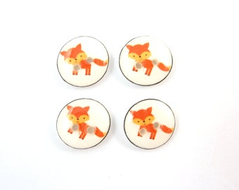 "4 SMALL Red Fox  Woodland Animal Buttons.  Handmade Resin Novelty or Craft Sewing Buttons. 1/2"" or 13 mm."