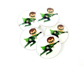 "5 Super Hero Buttons. 3/4"" or 20 mm.  Green  Superhero Buttons for Sewing, knitting or crochet. Buttons for Boys."