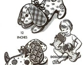 """Vintage 1950's 12"""" Stuffed Mother and Puppy Dog Animal Pattern 2267"""