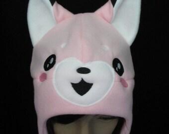 Fox Fleece Hat Pink Excited