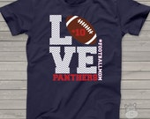 Football mom crew neck or v-neck DARK Tshirt LOVE - great gift for birthday or Mother's Day