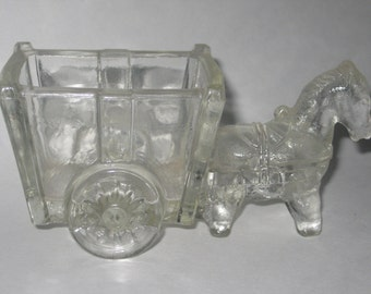 Donkey Cart Clear Glass Candy Container Dish Vintage