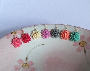 Posy Earrings, Bouquet Flowers Earrings, Turquoise Blue, Red, Pink, Peach, Ivory, Gray, Lightweight Earrings