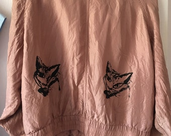silk handprinted jacket vintage LOVECATS back print screenprint