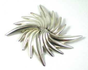 Silver Sunburst Brooch Pin - Vintage Large Abstract Mod Modern Sunburst Brooch Pin - Vintage Jewelry