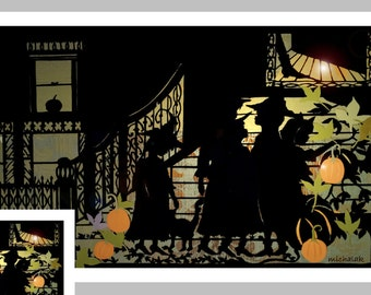 Halloween  Card, 3 witches, Halloween Party, Black Cat, Halloween Invitation, Vintage Halloween, Holiday Card, Brooklyn,  pumpkins,