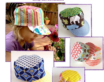 Hat Sewing Pattern for Conductor Cap or Cadet Cap in PDF Format, Easy Tutorial for Babies, Toddlers and Children