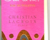 """1986 - Christian LACROIX PERFUME """" C'est la VIE"""",- Mint rare sample tube with Fragrance attached in Cardboard  Book - New York - Paris"""