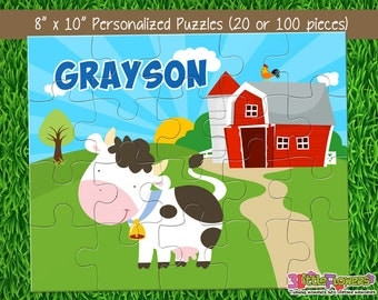 "Cow Puzzle - Personalized 8"" x 10"" Puzzle - Personalized Name Puzzle - Personalized Children Puzzle - 20 pieces Puzzle - Farm Party Gift"