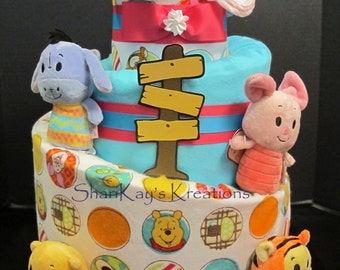 Diaper Cake - Girls Pooh & Friends 3 Tier Topsy Turvy - Baby Gift - Baby Shower - Centerpiece