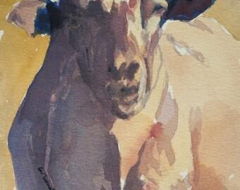 Lamb original watercolor painting Lamb painting Lamb art Sheep painting Sheep art Sheep decor Sheep original painting