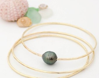 Tahitian Pearl Bangle Set - 14K Gold Filled Handmade