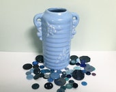 Vintage Shawnee Pottery Vase, Cornflower Blue with Two Handles, Emblossed Flowers and Horizontal Ribbing