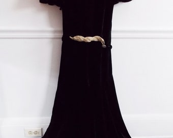 SPECIAL OFFER-1930s black velvet dress / 30s silk velvet bias cut dress / 1940s  hollywood rhinestone dress/ film noir dress