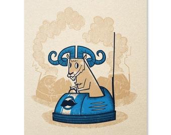 Funny Ram Art Print / Bumper Car Print / Animal Print / Animal Wall Art / Horny Ram Print / Home Decor / 8 x 10