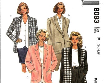 OOP Womans Dress Jacket Pattern, Size: 14 -16 -18, McCall's 8083 - UNCUT - 4 Hour Long Sleeve Jacket Lined or Unlined Jacket