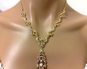 Gold Bridal Necklace, Victorian Wedding Necklace, Damask Wedding Jewelry, Swarovski Crystal Accessory, VIKTORIA