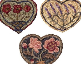 Botanical Hearts PAPER Pattern Set for rug hooking and punchneedle embroidery