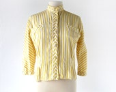Vintage 1950s Blouse / Striped Shirt / 50s Top / Yellow Blouse / S M