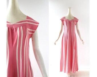 40s Lounge Dress / 1940s Dress / 40s Pink Dress / XS S