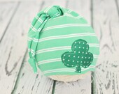 3 to 12 month baby hat // boy girl photo prop // baby photography // clover // shabby chic // St. Patricks day // stocking hat //  RTS
