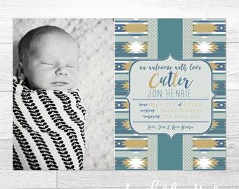 Southwestern Blues - Custom Birth Announcement