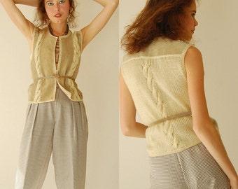 Suede Crop Vest Vintage 80s Cropped Suede Cable Knit Boho Indie Vest (s m)