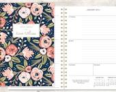 2016 planner calendar choose start month | custom weekly student planner | personalized planner agenda | pink navy gold floral pattern