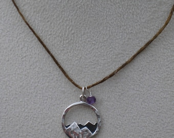 Sterling Mountain Pendant with Amethyst