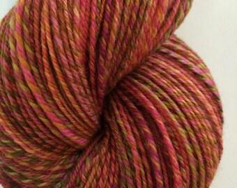 "Handspun Yarn Sock Yarn ""Blossom"" finn wool 405 yds Hello Yarn"