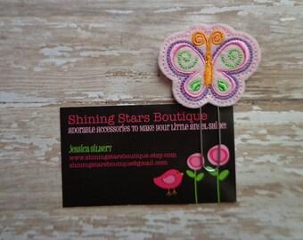 Felt Planner Clips For Girls - Light Pink, Lavender, Lime Green, And Orange Spring Butterfly Paper Clip Or Bookmark - Garden Bugs