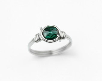 Emerald Ring - Stacking Ring - Crystal Ring - Sterling Silver - Stainless Steel - Green Ring - Wire Wrapped Ring - Rings - Emerald Jewelry