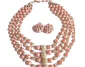 Four Strand Pink and Sugar Beads Necklace & Earrings Set Vintage Iridescent with Faux Crystals