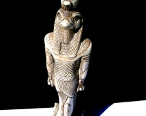 Vintage Large Egyptian Falcon Bird God Horus Hand Crafted Statue
