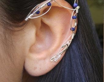 Sterling Silver Elf Ear Ear Cuff Pair w/ blue stones & unique wirework Elf Ears, Elvish, Elven Ears, Pixie Ears, Fairy Ears,