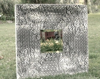 Shabby Cottage Chic Mirror Tin Ceiling Tile  2-Ft Square Large White Frame Wall Art