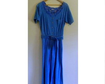 Vintage Chambray Maxi Dress with Crochet Details - Size S/M