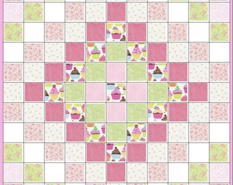 Little Cupcake Baby Quilt Kit~Too Cute to Describe~Paisley~Rosebuds~Pink~Green~White~ Fabric~QK#45