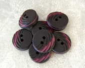 Black Sewing Buttons 15mm - 1/2 inch Carved Retro Mod Vintage Buttons - Licorice Black with Burgundy - 7 VTG Two Tone Plastic Buttons PL059