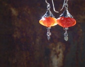 Hand Carved Carnelian and Thai Silver Earrings - Boho Chic - OOAK - Rustic Jewelry - Bohemian Jewelry - Hippy Chic - Dangle Earring