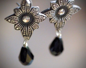 Victorian Style Fine Silver and Swarovski Crystal Dangle Earrings - OOAK - Tarnished Silver- Black Beads - Crystal - Vintage Style
