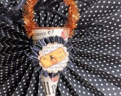 Halloween Ornament, Mini Candy Cone with Ticket Stub, Black Cat, and Jack-o-lantern, by Stacy Marie