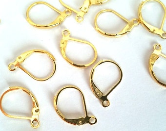 10 Pieces 15mm x 10mm Gold Lever Back Earring Findings Earring Hooks