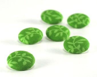 Fabric Button, Green Lake Leaves, 6 Small or 6 Medium Fabric Covered Buttons, Emerald Grass Lime Green Leaves Twigs Buttons Sewing Knitting